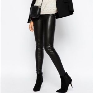 H&M Sexy Black Faux Leather Skinny Pants Size 8